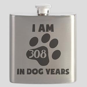44th Birthday Dog Years Flask