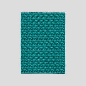Decorative Teal 5'x7'Area Rug