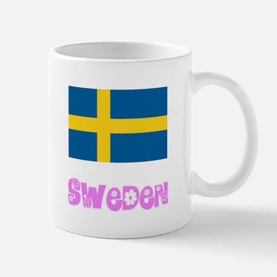 Sweden Flag Pink Flower Design Mugs
