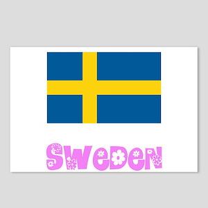 Sweden Flag Pink Flower D Postcards (Package of 8)