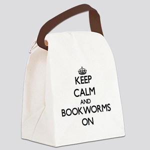 Keep Calm and Bookworms ON Canvas Lunch Bag