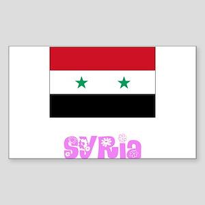 Syria Flag Pink Flower Design Sticker