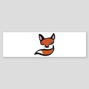 Fox Head & Tail Bumper Sticker