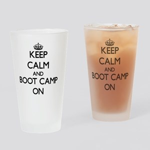 Keep Calm and Boot Camp ON Drinking Glass