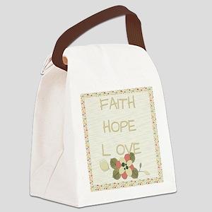 Faith Hope Love Canvas Lunch Bag