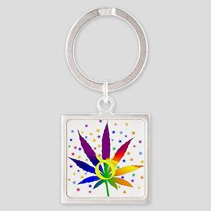 Rainbow Marijuana Taurus Square Keychain