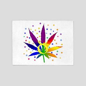 Rainbow Marijuana Taurus 5'x7'Area Rug