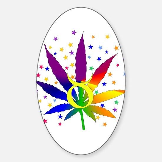Rainbow Marijuana Taurus Sticker (Oval)
