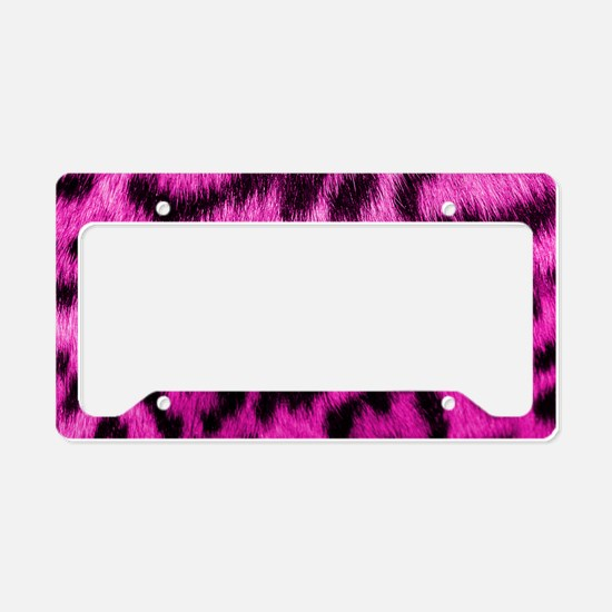 Pink Leopard Print License Plate Holder