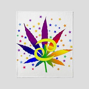 Rainbow Marijuana Cancer Throw Blanket