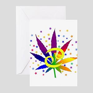 Rainbow Marijuana Cancer Greeting Cards (Pk of 10)