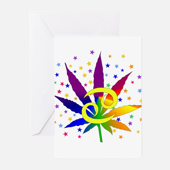 Rainbow Marijuana Cancer Greeting Cards (Pk of 10)