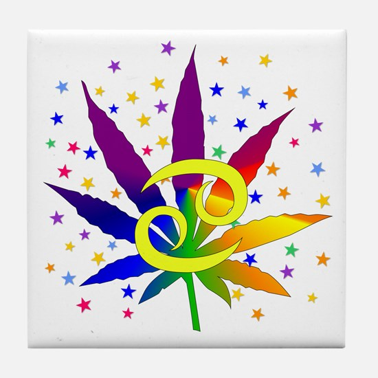 Rainbow Marijuana Cancer Tile Coaster