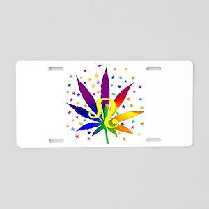 Rainbow Marijuana Leo Aluminum License Plate