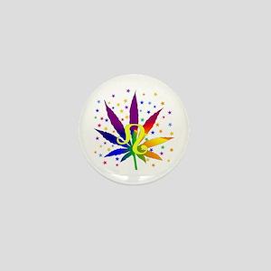 Rainbow Marijuana Leo Mini Button