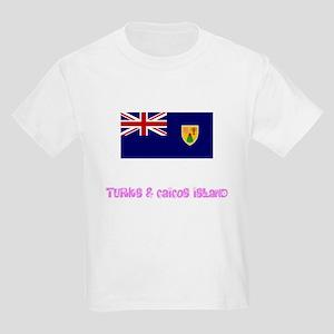 Turks & Caicos Island Flag Pink Flower T-Shirt