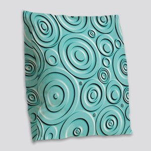 Teal Circles Burlap Throw Pillow