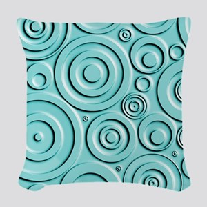 Teal Circles Woven Throw Pillow