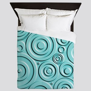 Teal Circles Queen Duvet