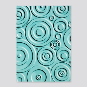 Teal Circles 5'x7'Area Rug