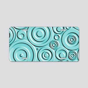 Teal Circles Aluminum License Plate