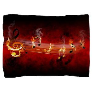Hot Music Notes Pillow Sham