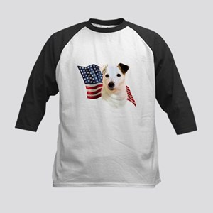 Jack Russell Terrier Flag Kids Baseball Jersey
