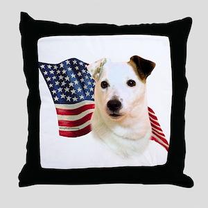 Jack Russell Terrier Flag Throw Pillow