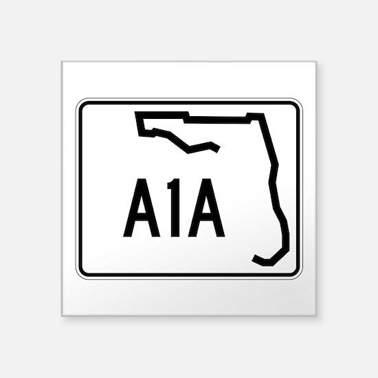 """Route A1A, Florida Square Sticker 3"""" x 3"""""""