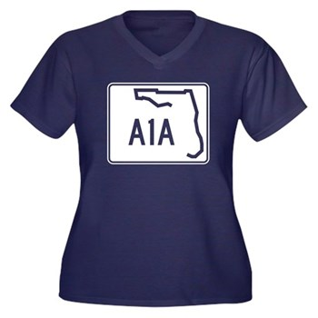 Route A1A, F Women's Plus Size V-Neck Dark T-Shirt