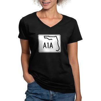 Route A1A, Florida Women's V-Neck Dark T-Shirt