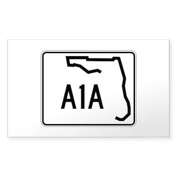 Route A1A, Florida Sticker (Rectangle)