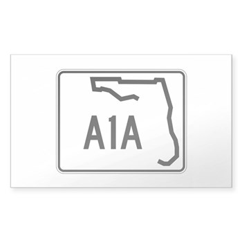 Route A1A, Florida Sticker (Rectangle)