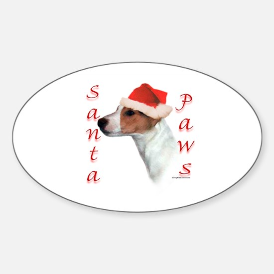 Santa Paws Jack Russell Oval Decal