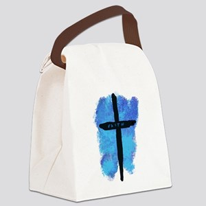 Black Cross on Blue Background Canvas Lunch Bag