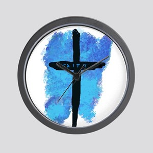 Black Cross on Blue Background Wall Clock