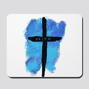 Black Cross on Blue Background Mousepad