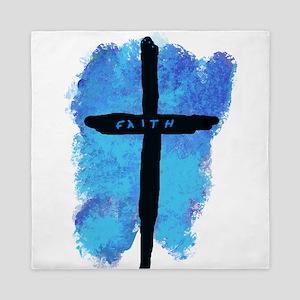 Black Cross on Blue Background Queen Duvet