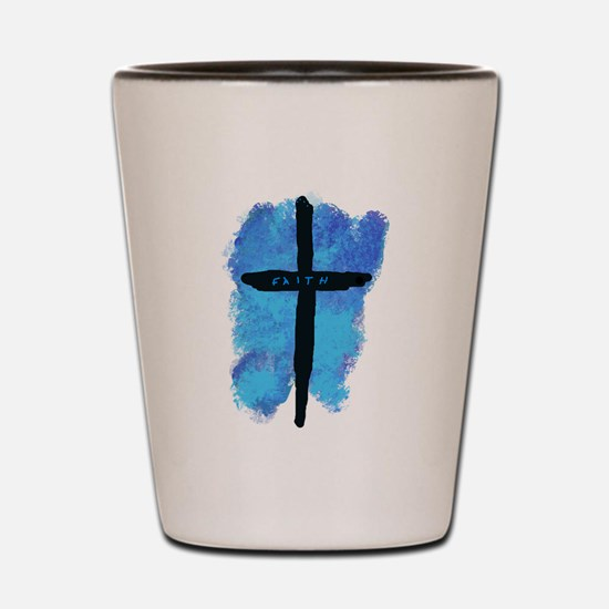 Black Cross on Blue Background Shot Glass