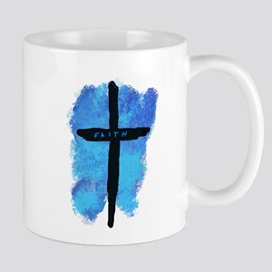 Black Cross on Blue Background Mugs