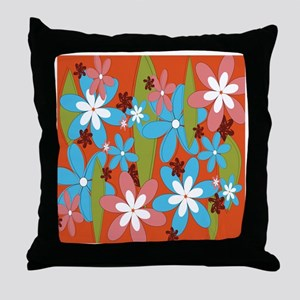 Hippie Flower Power Throw Pillow