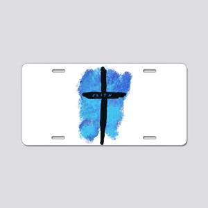 Black Cross on Blue Backgro Aluminum License Plate