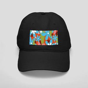 Hippie Flower Power Black Cap