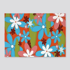 Hippie Flower Power 5'x7'Area Rug