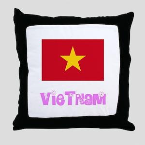 Vietnam Flag Pink Flower Design Throw Pillow