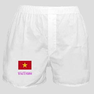 Vietnam Flag Pink Flower Design Boxer Shorts