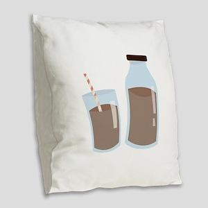 Chocolate Milk Burlap Throw Pillow