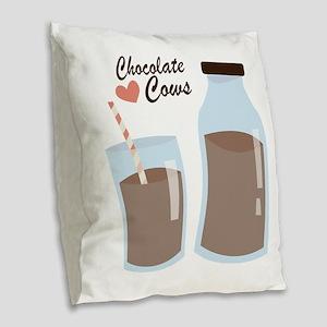 Chocolate Cows Burlap Throw Pillow