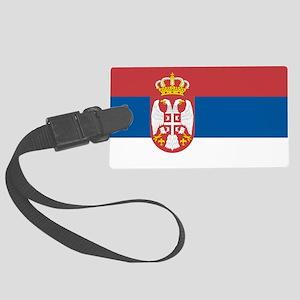 Serbian flag Large Luggage Tag