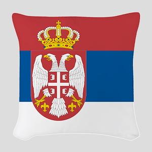 Serbian flag Woven Throw Pillow